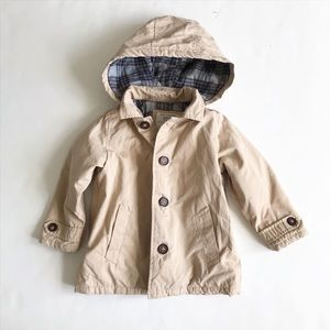 Zara plaid lined hooded trench jacket VGUC 2/3T